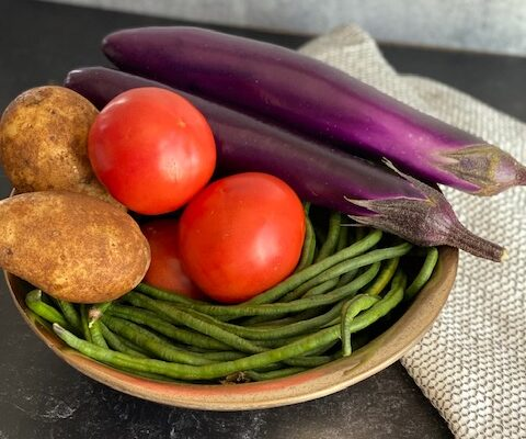 Long Bean, Chinese Eggplant, Tomato, Potato